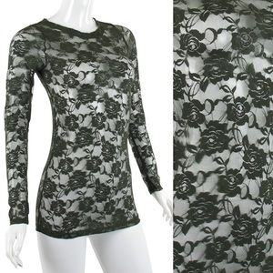 Forest green lace top blouse new S